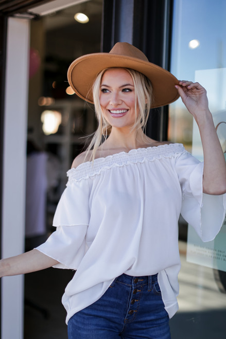 White - Model wearing the Off-the-Shoulder Blouse