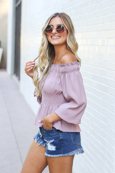 Mauve - Smocked Off-the-Shoulder Blouse Side View