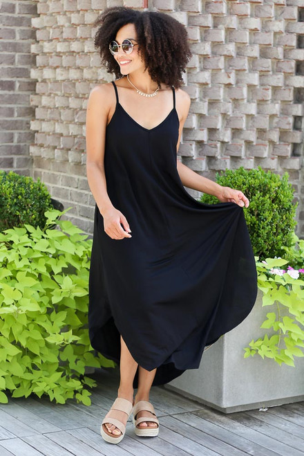 Black - V-Neck Maxi Dress
