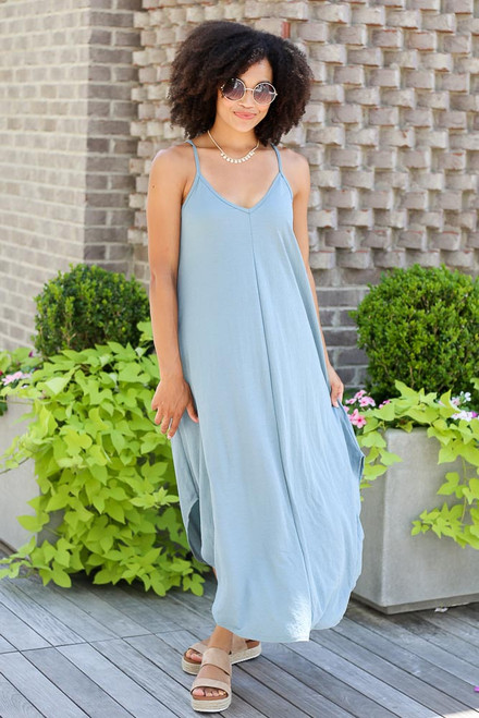 Blue - Model wearing the V-Neck Maxi Dress