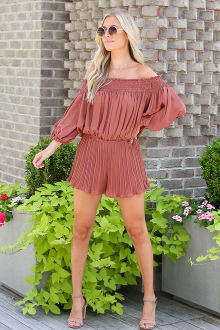 Mocha - Smocked Pleated Romper