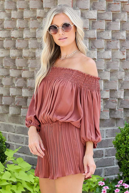 Mocha - Smocked Pleated Romper Side View