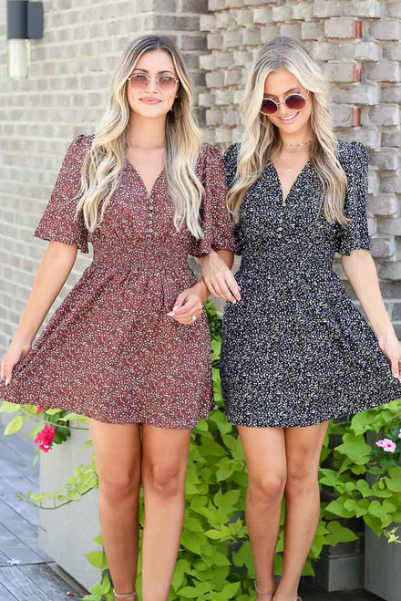 Black - Smocked Floral Dress