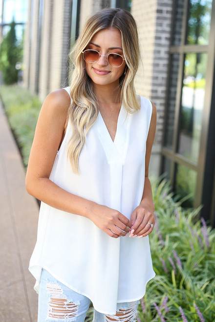 White - V-Neck Blouse