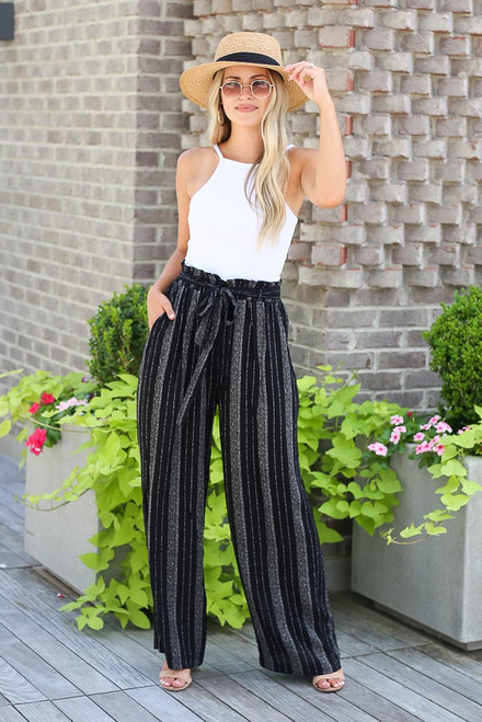 Black - Striped Paperbag Waist Pants