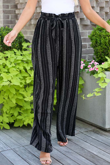 Black - Striped Paperbag Waist Pants from Dress Up