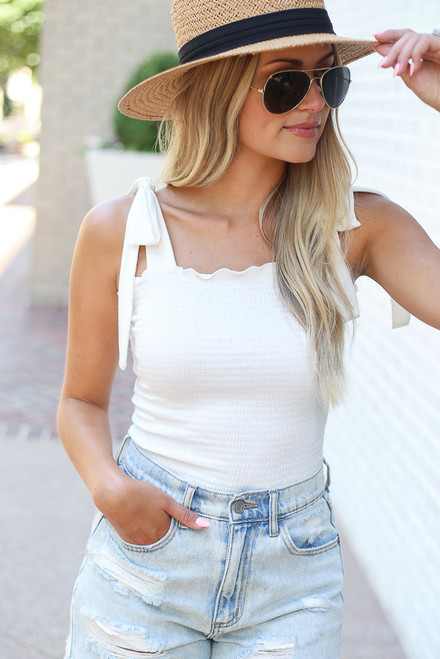 White - Smocked Tie-Strap Tank from Dress Up