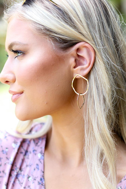 Gold - Hammered Drop Earrings