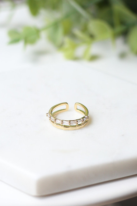 Gold - Rhinestone Double Ring from Dress Up