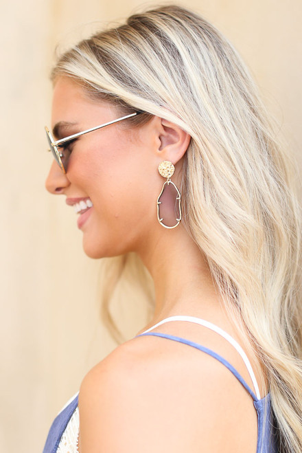 Grey - Gold Statement Earrings from Dress Up
