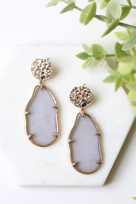 Grey - Gold Statement Earrings