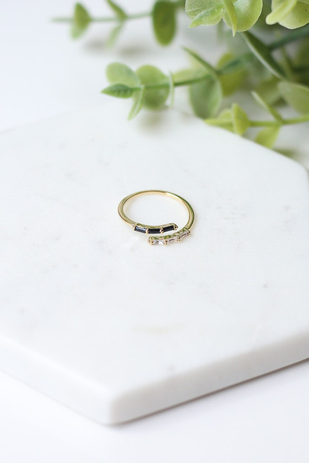 Gold - Rhinestone Open Ring from Dress Up
