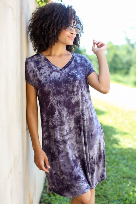 Navy - Tie-Dye Swing Dress