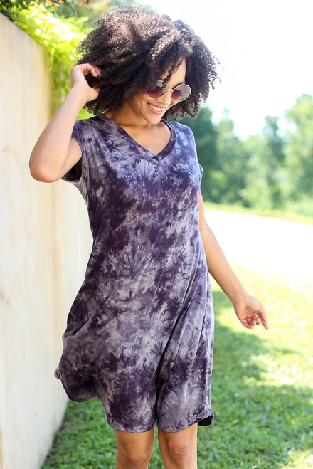 Navy - Tie-Dye Swing Dress from Dress Up