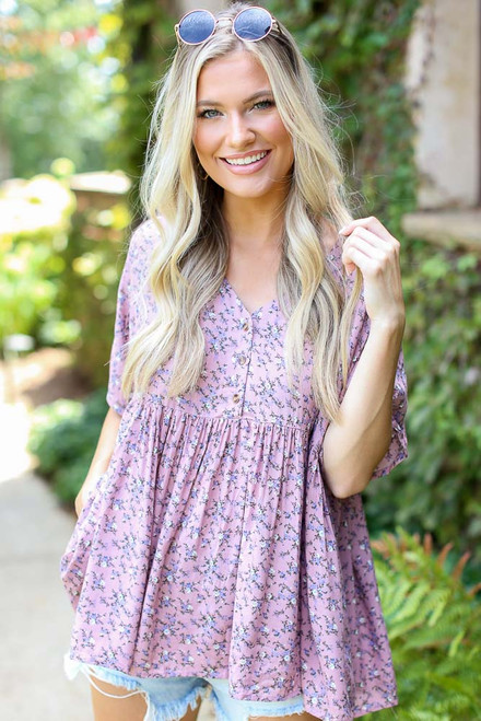 Mauve - Floral Babydoll Top from Dress Up