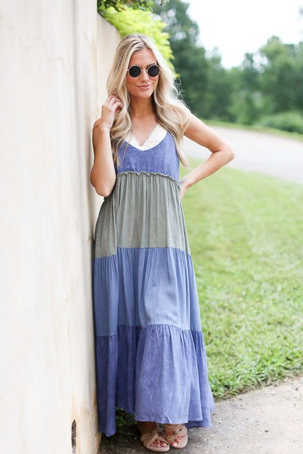 Denim - Tiered Color Block Maxi Dress