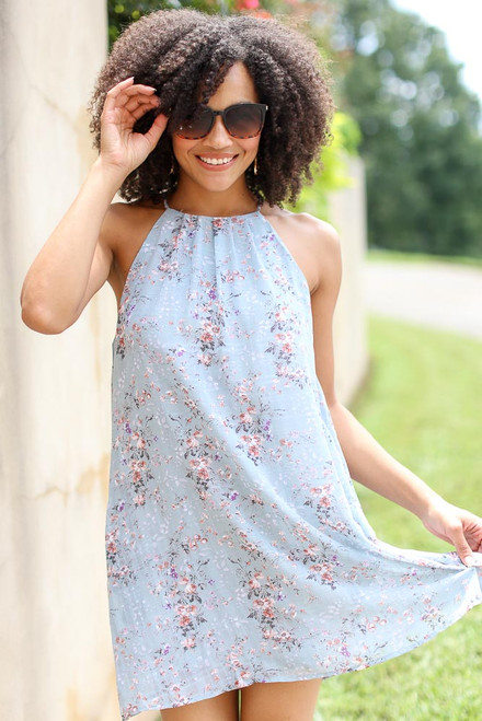 Mint - Floral Halter Swing Dress