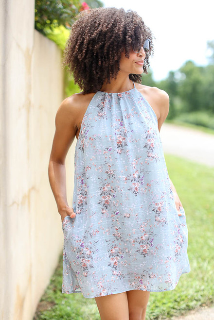 Mint - Floral Halter Swing Dress from Dress Up