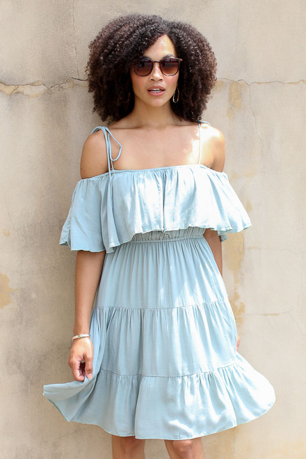 Sage - Tiered Cold-Shoulder Dress