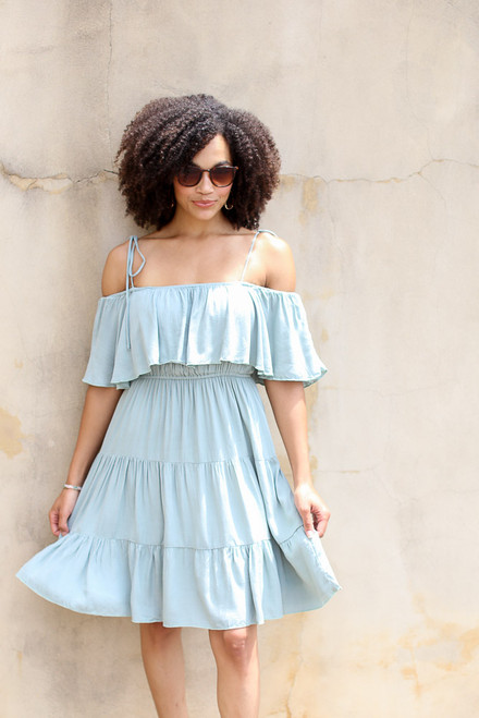 Sage - Tiered Cold-Shoulder Dress from Dress Up
