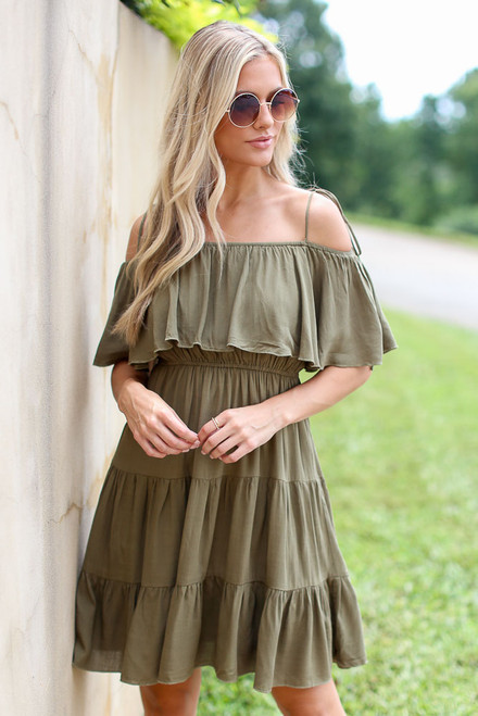 Olive - Model wearing the Tiered Cold-Shoulder Dress