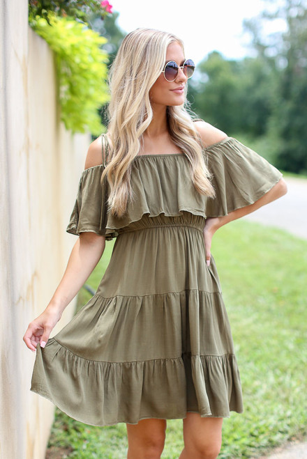 Olive - Dress Up model wearing the Tiered Cold-Shoulder Dress