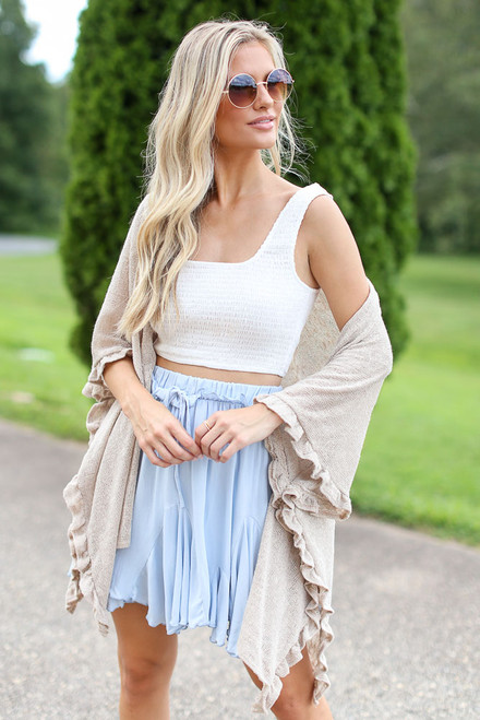 Ivory - Ruffled Lightweight Knit Cardigan