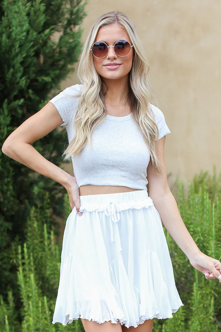 Heather Grey - Ribbed Knit Crop Top