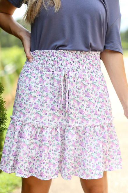 Ivory - Tiered Floral Skirt from Dress Up