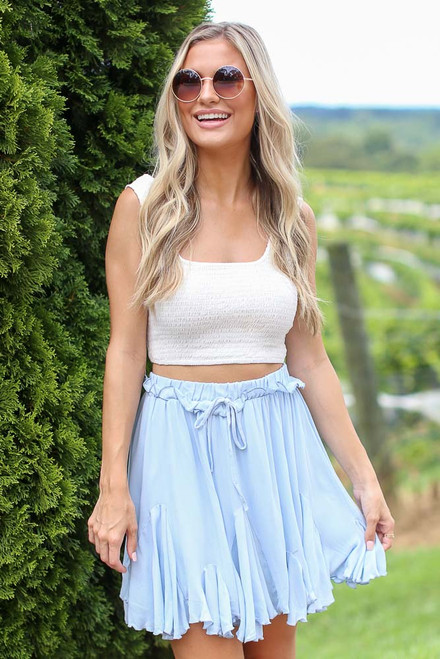 Light Blue - Model wearing the Swing Skort