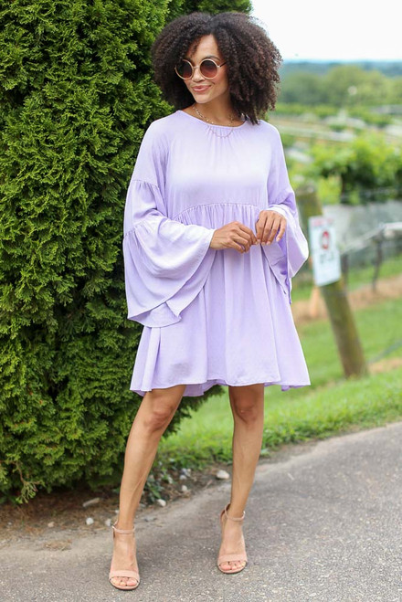 Lavender - Bell Sleeve Babydoll Dress from Dress Up