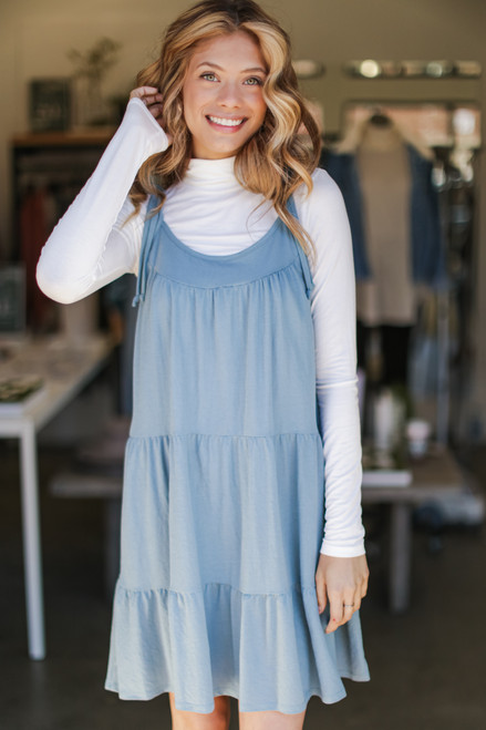 Denim - Tiered Tie-Strap Dress