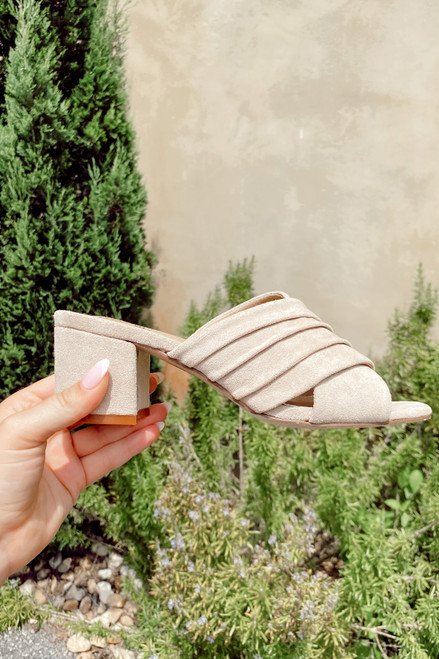Nude - Block Heel Peep Toe Mules from Dress Up