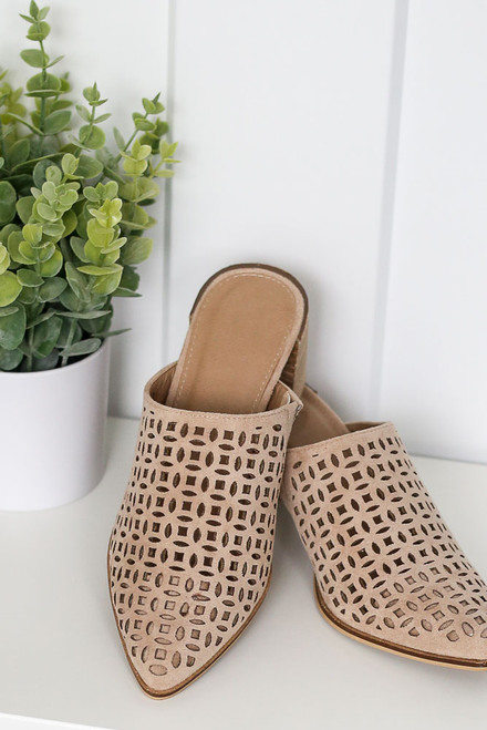 Taupe - Block Heel Eyelet Mules from Dress Up