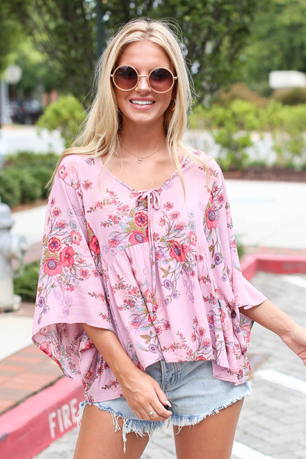 Mauve - Floral Babydoll Blouse from Dress Up