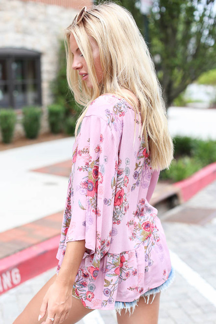 Mauve - Floral Babydoll Blouse Side View