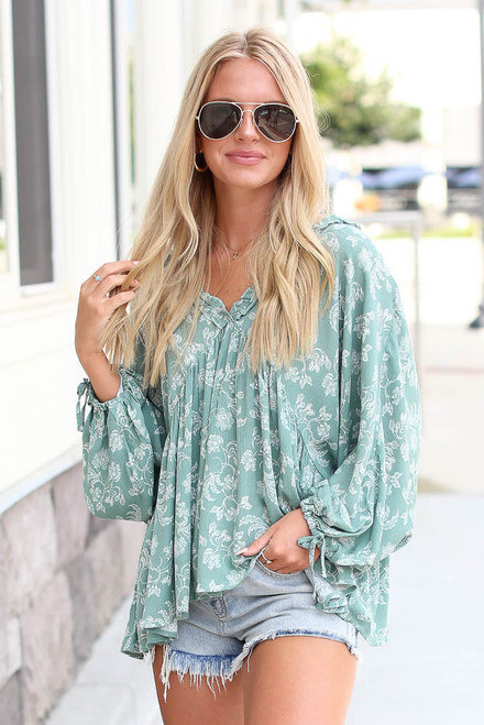 Sage - Floral Babydoll Blouse from Dress Up