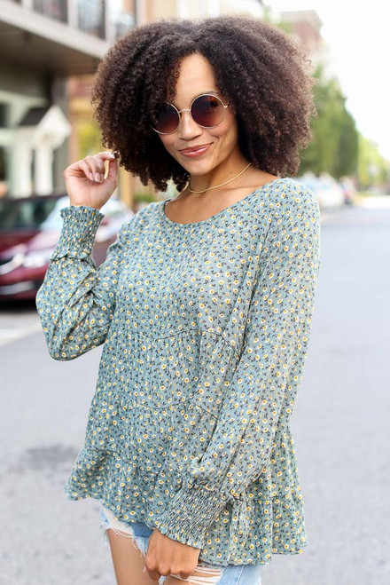 Sage - Tiered Floral Blouse