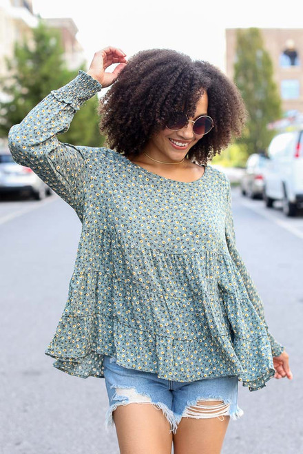 Sage - Tiered Floral Blouse from Dress Up
