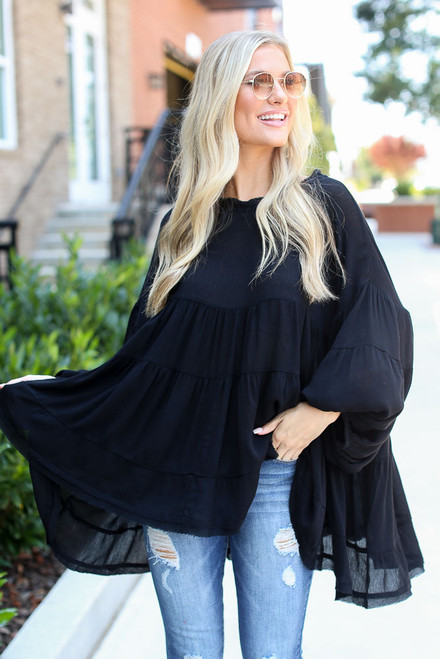 Black - Tiered Oversized Blouse