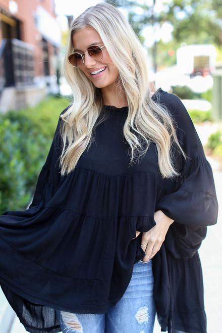Black - Tiered Oversized Blouse from Dress Up