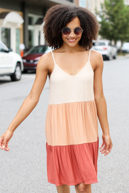 Rust - Tiered Color Block Dress