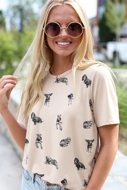 Taupe - Dog Graphic Tee