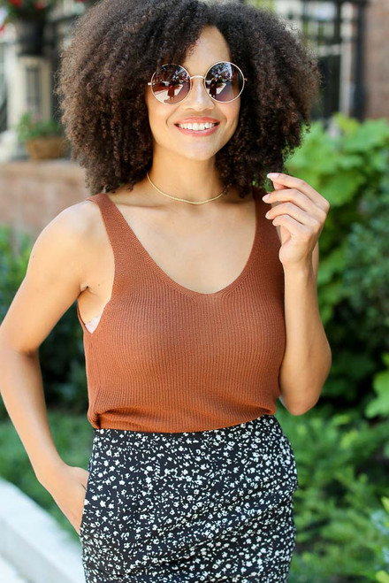 Brown - Sweater Tank