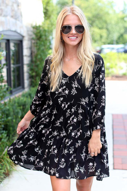 Black - Floral Babydoll Dress from Dress Up