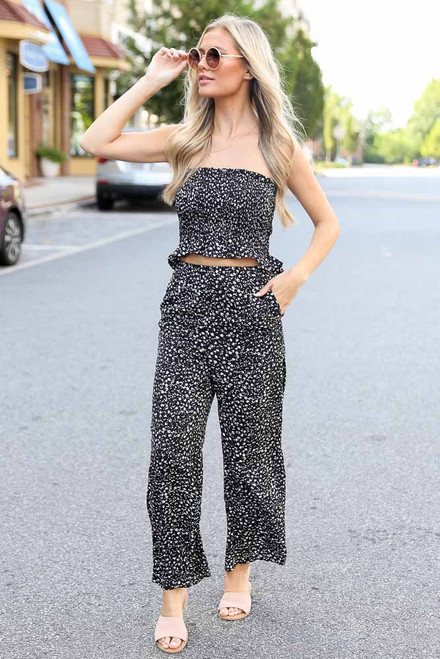 Black - Floral Wide Leg Pants