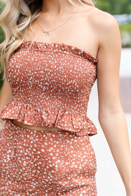Rust - Smocked Floral Crop Top from Dress Up