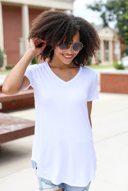 White - Ultra Soft V-Neck Tee