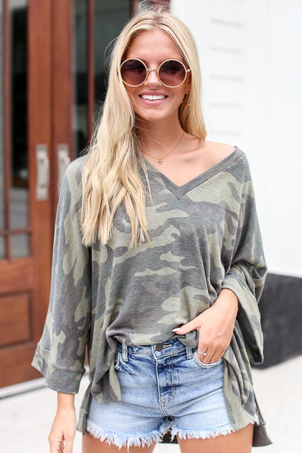 Olive - Oversized Camo Top