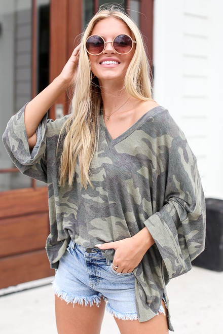 Olive - Oversized Camo Top from Dress Up